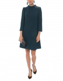 Eloise Green Wool Crepe Dress