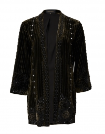 Samira Green and Black Embroidered Velvet Jacket