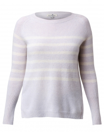 Pale Grey and White Striped Cashmere Sweater