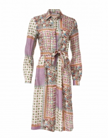 Pink Paisley Mosaic Printed Silk Shirt Dress