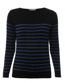 Black and Blue Striped Cotton Sweater