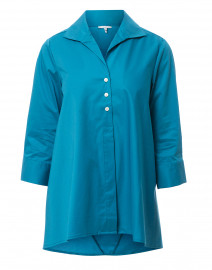 Betty Teal Button Down Stretch Cotton Shirt