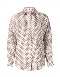 White and Pink Printed Silk Shirt