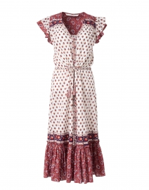 Tinzia Red and White Patchwork Print Cotton Dress