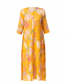 Anu Orange Semara Floral Print Long Kurta