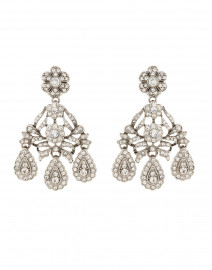 Antique Silver Crystal Drop Clip On Earrings