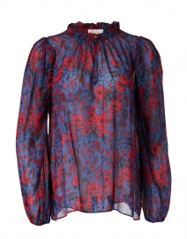 Joelle Navy and Red Floral Print Top