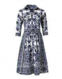 Audrey Indigo Mosaic Print Stretch Cotton Dress