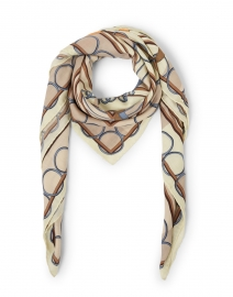Venezia Beige and Blue Cashmere and Silk Scarf