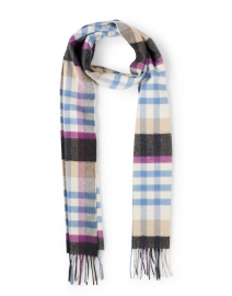Blue Multi Gingham Check Cashmere Scarf