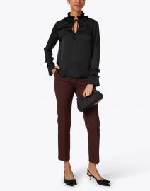 Lafayette 148 New York - Roan Black Ruffled Silk Blouse