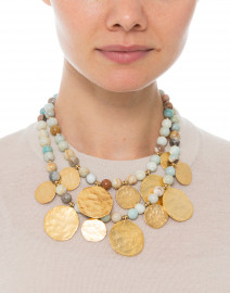 Kenneth Jay Lane - Amazonite Beaded Double Strand Coin Necklace