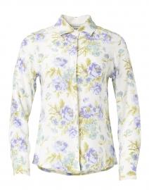 Lujza Periwinkle Blue Floral Silk Crepe Shirt