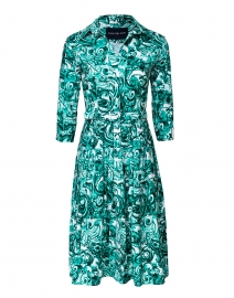 Audrey Green and White Print Stretch Cotton Dress