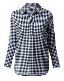 Hadley Black and White Gingham Henley Top