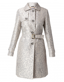 Silver Animal Printed Belted Trench Coat