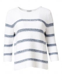 White and Cove Blue Striped Cotton Sweater