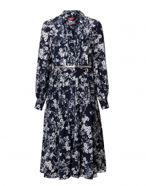 Nizza Navy Floral Silk Shirt Dress
