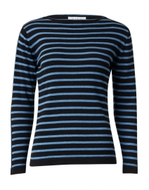 Black and Ocean Blue Striped Pima Cotton Sweater
