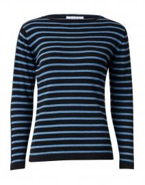 Black and Ocean Blue Striped Pima Cotton Sweater