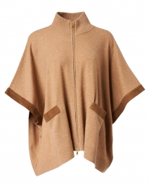 Walnut Wool and Cashmere Zip Up Poncho