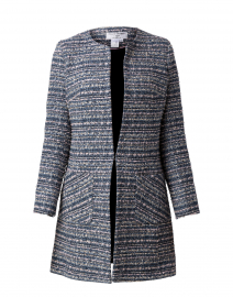 Alice Blue, Navy, and Pink Tweed Coat