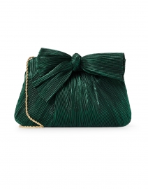 Rayne Emerald Green Pleated Lame Bow Clutch
