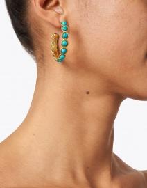Sylvia Toledano - Mini Turquoise Stoned Hoop Earrings