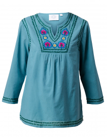 Corsica Blue Embroidered Cotton Tunic