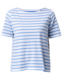 Vista Blue and White Striped Cotton Silk Touch Top
