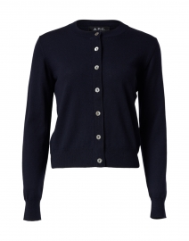Navy Merino Button Down Cardigan