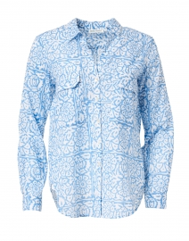 Guy Blue Floral Cotton Shirt