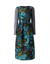 Fumiko Teal and Black Jacquard Dress