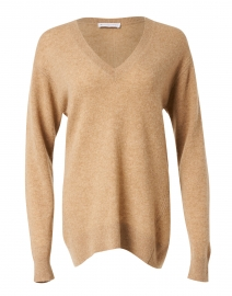 Camel Cashmere Pointelle Sweater