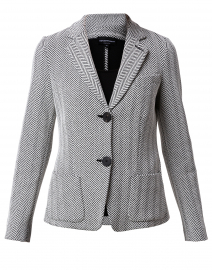 Black and White Herringbone Cotton Blazer