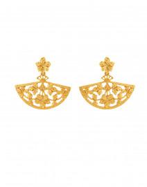 Gold Floral Fan Drop Earrings