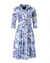Audrey Da Vinci White and Cobalt Blue Stretch Cotton Dress