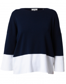Navy and White Cotton Sweater