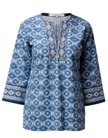 Claire Indigo and White Ikat Print Stretch Cotton Tunic