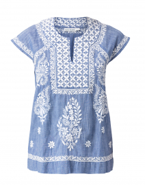 Faith Chambray Blue Top with White Embroidery
