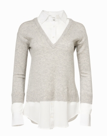 Brami Grey Cashmere and Wool Layered Sweater