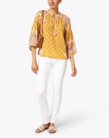 D'Ascoli - Lena Tangerine Paisley Print Silk Crepe Top