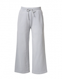 Slate Blue Grey Cotton French Terry Cropped Pant