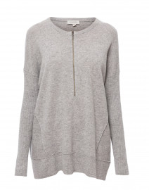 Light Grey Zip Up Cashmere Henley Sweater