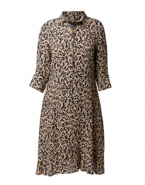 Beige and Black Animal Print Shirt Dress