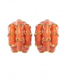 Coral Ribbed Enamel Hoop Clip Earring