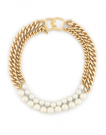 Gold Chain and Pearl Two Row Necklace