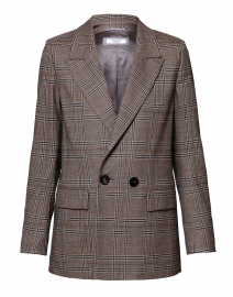 Taupe Plaid Stretch Wool Blazer