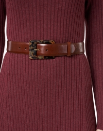 W. Kleinberg - Brown Glazed Calf Leather Belt with Tortoise Buckle