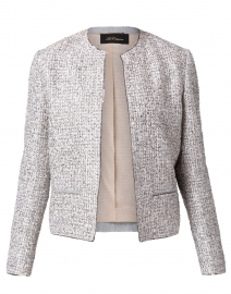 Cream and Black Silver Lurex Boucle Jacket